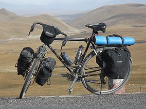a loaded touring bicycle