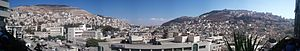 English: A panorama view of eastern Nablus wit...