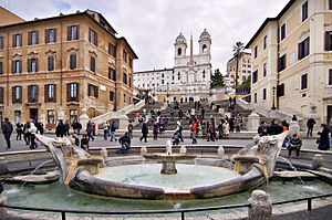 English: The Spanish Steps, Fontana della Barc...