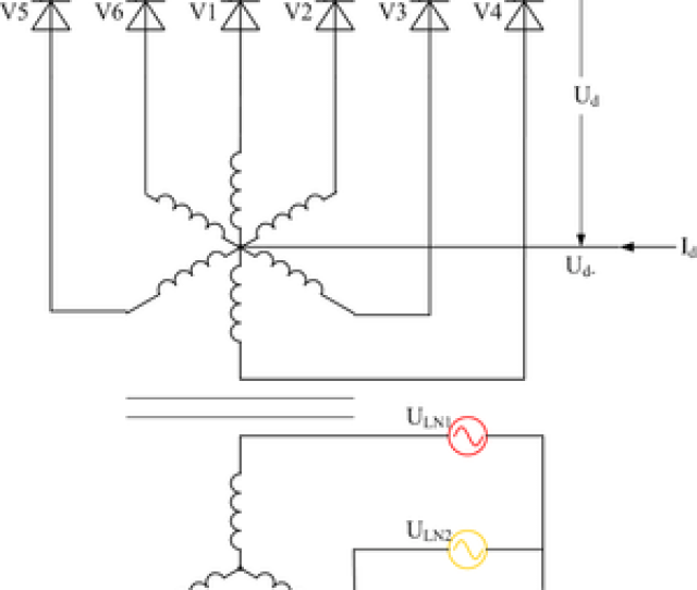 Controlled Three Phase Full Wave Rectifier Circuit Using Thyristors As The Switching Elements With A Center Tapped Transformer Ignoring Supply Inductance