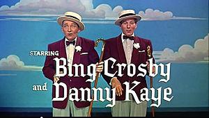 Cropped screenshot of Bing Crosby and Danny Ka...