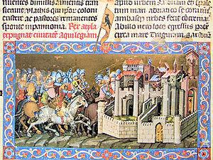 Chronicon Pictum P014 Atilla Aquileiát ostromolja