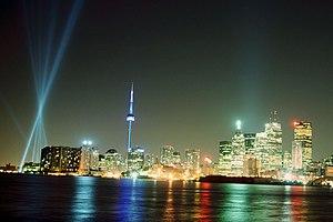 Skyline of Toronto, with Luminato light show