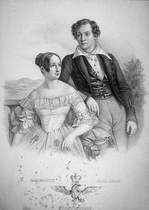 Elisabeth und Carl Egon zu Fürstenberg, Lithog...