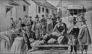 Old drawing of the death of Giles Corey (Sept....