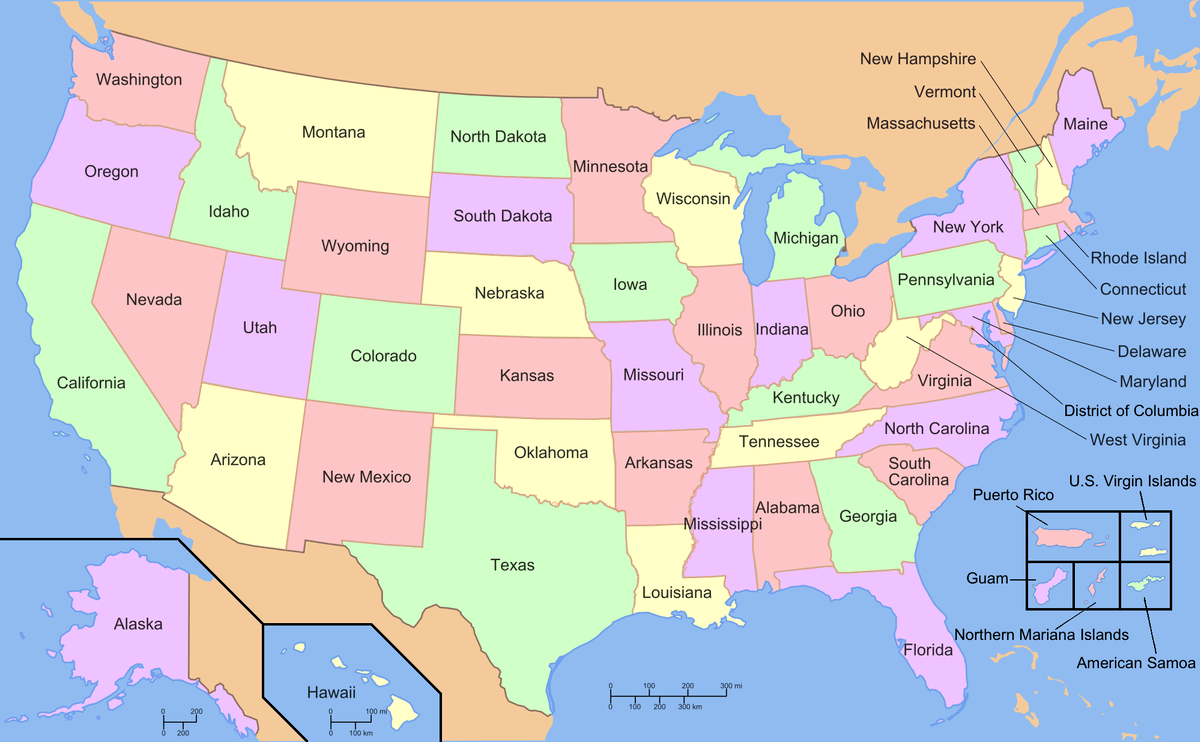 List Of States And Territories Of The United States Wikipedia