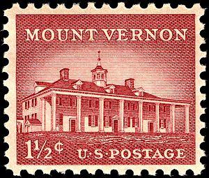 US Postage stamp: Mt. Vernon, 1956 issue, 1-1/...