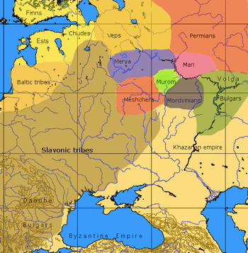 Vepsians etc. tribes. An approximative map of ...