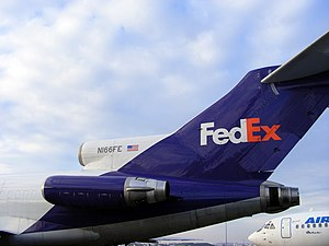 Tail of a FedEx Boeing 727.