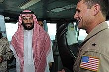 Mohammad bin Salman aboard the aircraft carrier USS Theodore Roosevelt, 7 July 2015