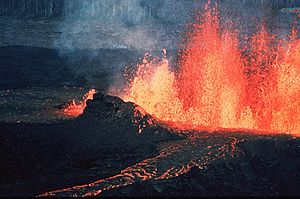 Volcanic eruptions such as this one can create...