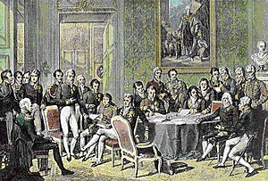 Period oil painting of the delegates to the Congress of Vienna.