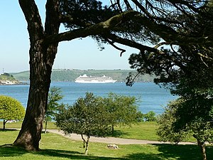 Cruise liner in Plymouth Sound with Mount Edgu...