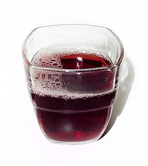 Glass of grape juice.