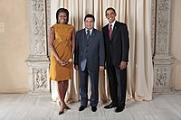 Berdimuhamedow with US President Barack Obama and First Lady Michelle Obama.
