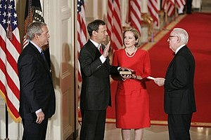 Roberts is sworn in as Chief Justice by Justic...