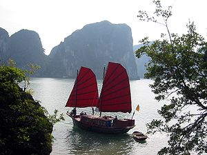 Junk in the Halong Bay, Vietnam
