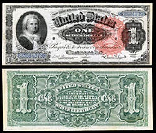 alt = Certificado de Plata de $ 1, Serie 1886, Fr.215, representando a Martha Washington