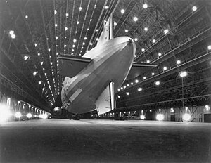 The USS Macon inside Hangar One at Moffett Fie...