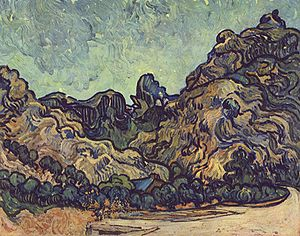 Les Alpilles (1889), painted by van Gogh while...