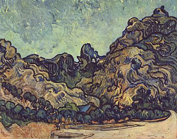 Les Alpilles (1889), painted by van Gogh while...