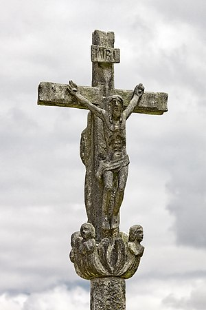 English: Wayside cross in Laraño, Santiago de ...