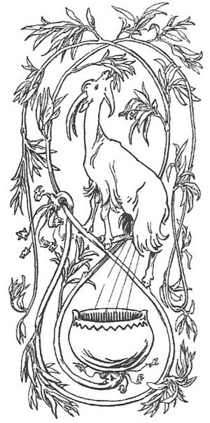 The goat Heiðrún consumes the foliage of the t...