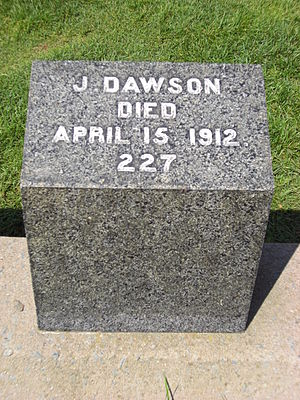Gravestone of Joseph Dawson, member of the cre...