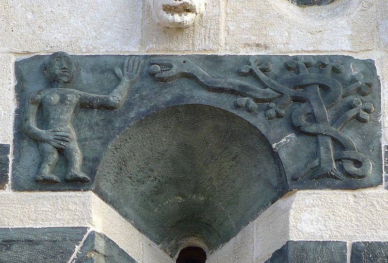 File:Kirche San Michele de Murato, Korsika - Der Sündenfall (die Schlange reicht Eva die Frucht vom Baum der Erkenntnis).jpg