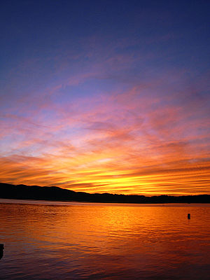 colourful sunset. knysna, south africa. slight...