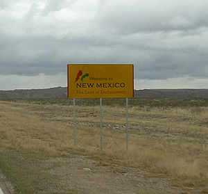 New Mexico state welcome sign
