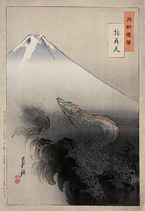 A ukiyo-e print of Mount Fuji from Ogata Gekkō...