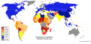 World map showing percent of population living...