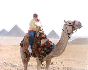 Margaret Coll on vacation in Egypt in front of...