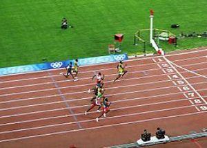 Usain Bolt winning the 100 m final 2008 Olympics