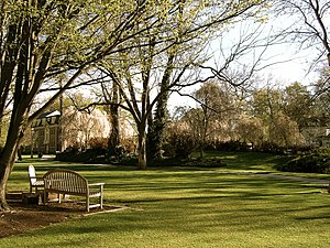 English: A summertime lawn on the campus of Wh...