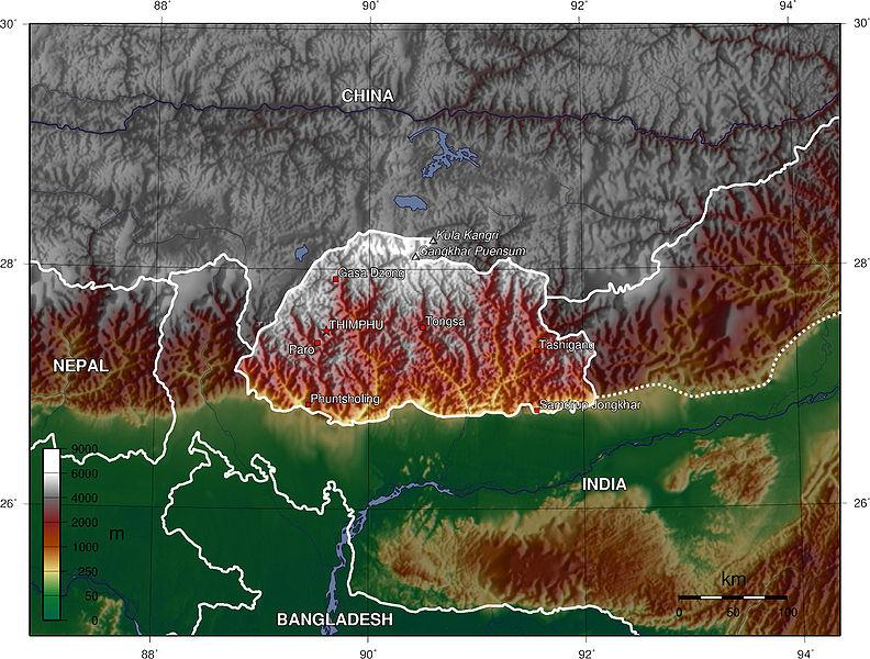 Le Bhoutan par rapport à ses voisins - Wikicommons