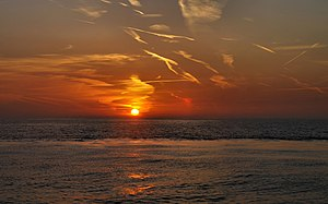 English: Red sunrise over Oostende, Belgium