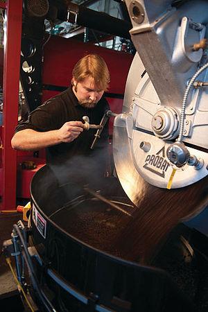 Probat coffee roaster located at Dillanos Coff...