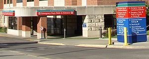 The emergency department entrance at Mayo Clin...