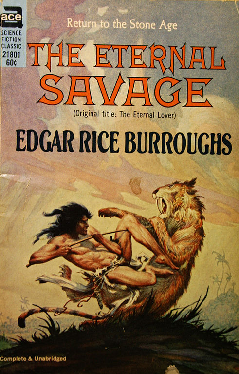 Un Smilodon dientes de sable en acción visto en la portada de un comic de 1914