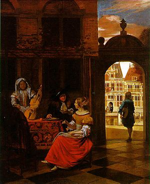 Musical Party in a Courtyard (1677). Oil on ca...
