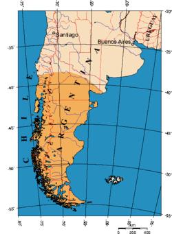 En naranja el área más comúnmente definida como Patagonia