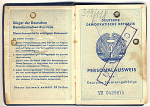 English: Identity card of the German Democrati...