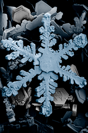 English: Ordinary hexagonal dendrite snowflake...