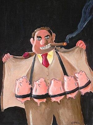 English: Terrorist Banker - PortoCartoon 2009,...