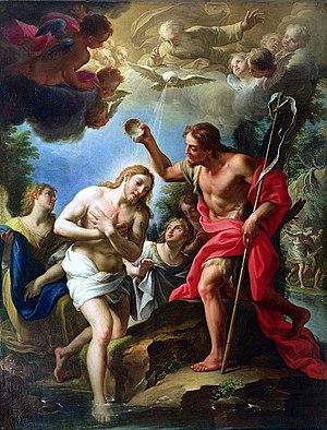 English: John the Baptist baptizing Christ