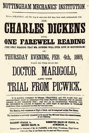 Poster promoting reading by Charles Dickens in...