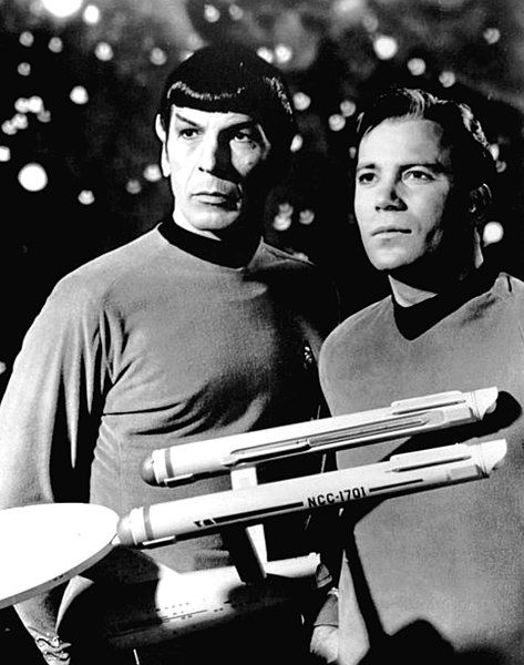 File:Leonard Nimoy William Shatner Star Trek 1968.JPG