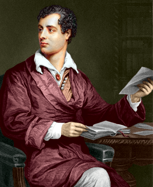 Lord Byron coloured drawing
